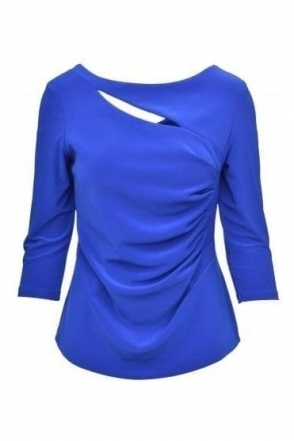 Ruched Waist Cut Out Blouse (Blue) - 173109