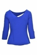 Joseph Ribkoff Ruched Waist Cut Out Blouse (Blue) - 173109