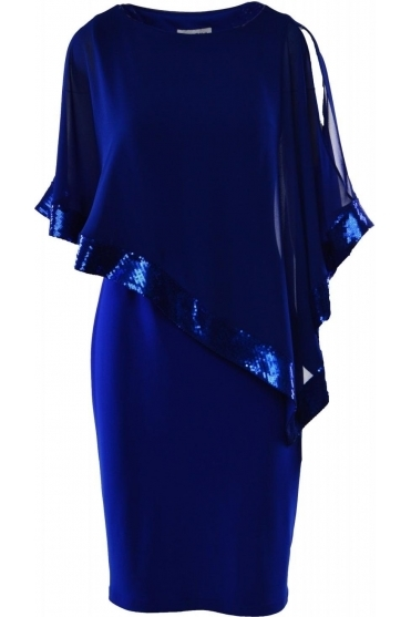 Sequin Detail Cape Dress - 154377G