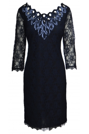 Sequin Embellished Lace Dress - Navy - 173999