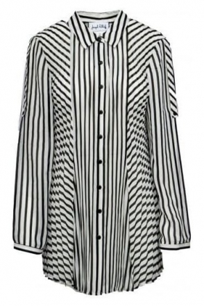 Sheer Monochrome Pleated Shirt (Black/White) - 171994