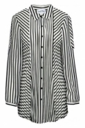 Joseph Ribkoff Sheer Monochrome Pleated Shirt (Black/White) - 171994