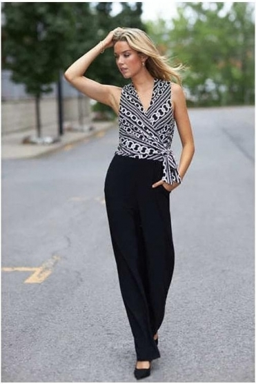 Sleeveless Chain Print Jumpsuit - Black - 203172