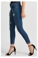 Joseph Ribkoff Slim Fit Pearl & Embellished Detail Jeans - Light Denim Blue - 201994