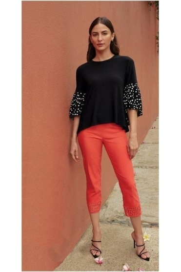 Spot Flared Sleeve Top - Black - 201504