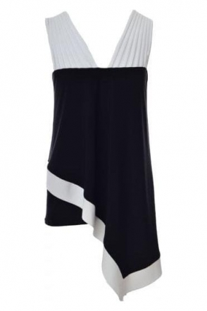 Strap Asymmetric Contrast Top (Black/White) - 182206