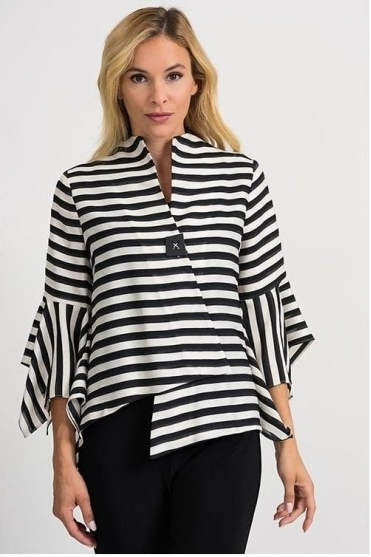Stripe Asymmetric Hem and Sleeve Jacket - Black/White - 201438