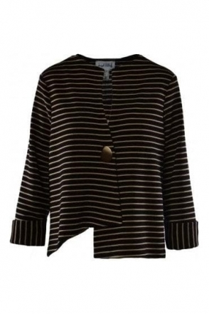 Stripe Asymmetric Jacket - Black/Gold - 191908