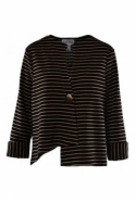 Joseph Ribkoff Stripe Asymmetric Jacket (Black/Gold) - 191908