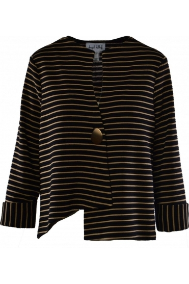 Stripe Asymmetric Jacket (Black/Gold) - 191908