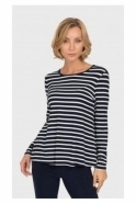 Joseph Ribkoff Stripe Back Pleated Detail Top - Navy/White - 192924