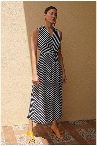 Stripe Collared Midi Dress - Navy/White - 201340
