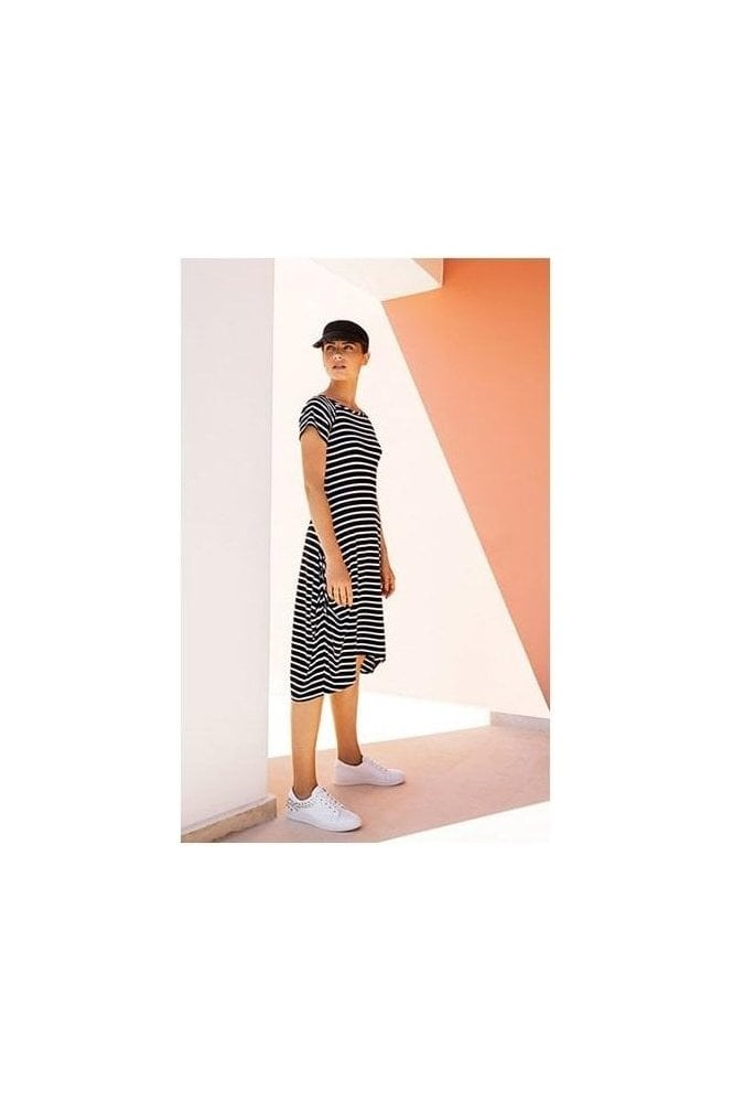 Joseph Ribkoff Stripe High Low Hem Midi Dress (Navy/White) - 191914