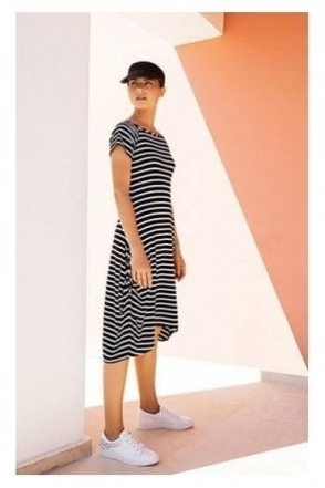 Stripe High Low Hem Midi Dress (Navy/White) - 191914