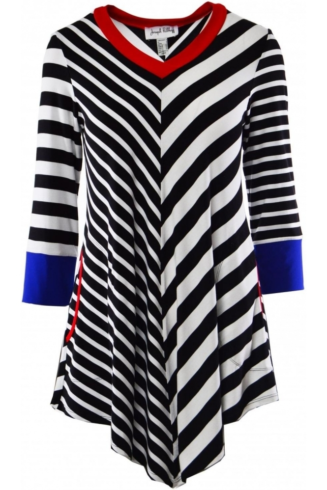 Stripe Point Hem Tunic - 191913