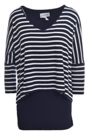 Striped Drape Tunic (Navy/White) - 181307