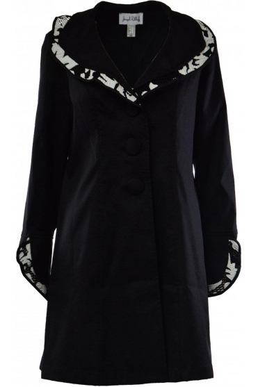 Structured Collar Monochrome Coat - 183503