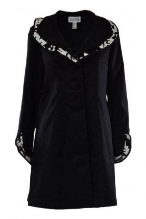 Structured Collar Monochrome Coat (Black) - 183503