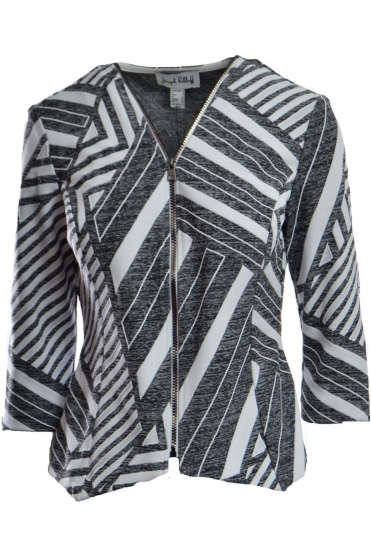 Structured Geometric Zip Jacket (Grey)- 182537