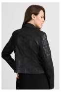 Joseph Ribkoff Stud Detail Suede Leather Look Biker Jacket - Black - 201914