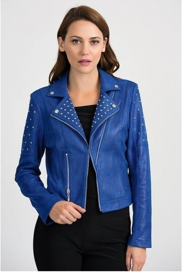 Stud Detail Suede Leather Look Biker Jacket - Blue - 201914