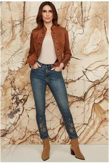 Suede Military Jacket - Brown - 203565