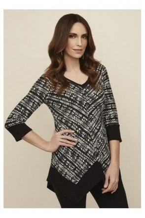 Textured Abstract Print Top - Black - 203039