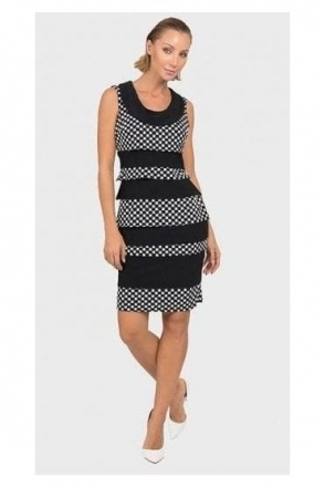 Textured Cowl Neck Rara Dress - Black/White - 192844