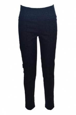 Textured Geometric Print Slim Fit Trousers (Black) - 181426