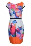 Joseph Ribkoff Tropical Floral Cap Sleeve Dress - 181749