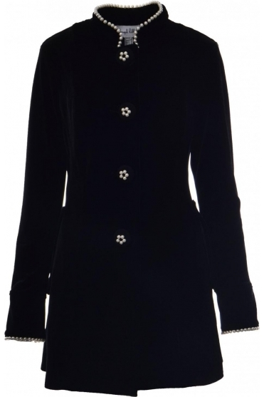 Velvet Pearl Detail Jacket (Black) - 184460