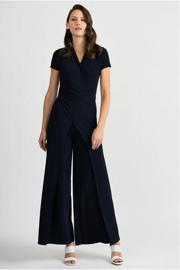 Wrap Over Flared Jumpsuit - Midnight - 201146