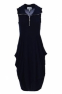 Joseph Ribkoff Zip Detail Puffball Dress (Navy) - 182015