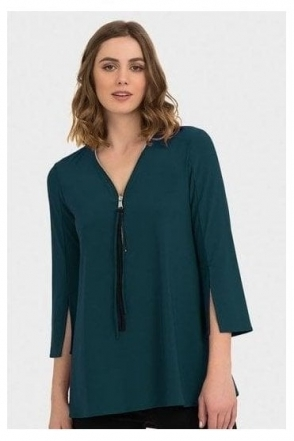 Zip & Tassel Detail Tunic - Peacock/Black - 191143