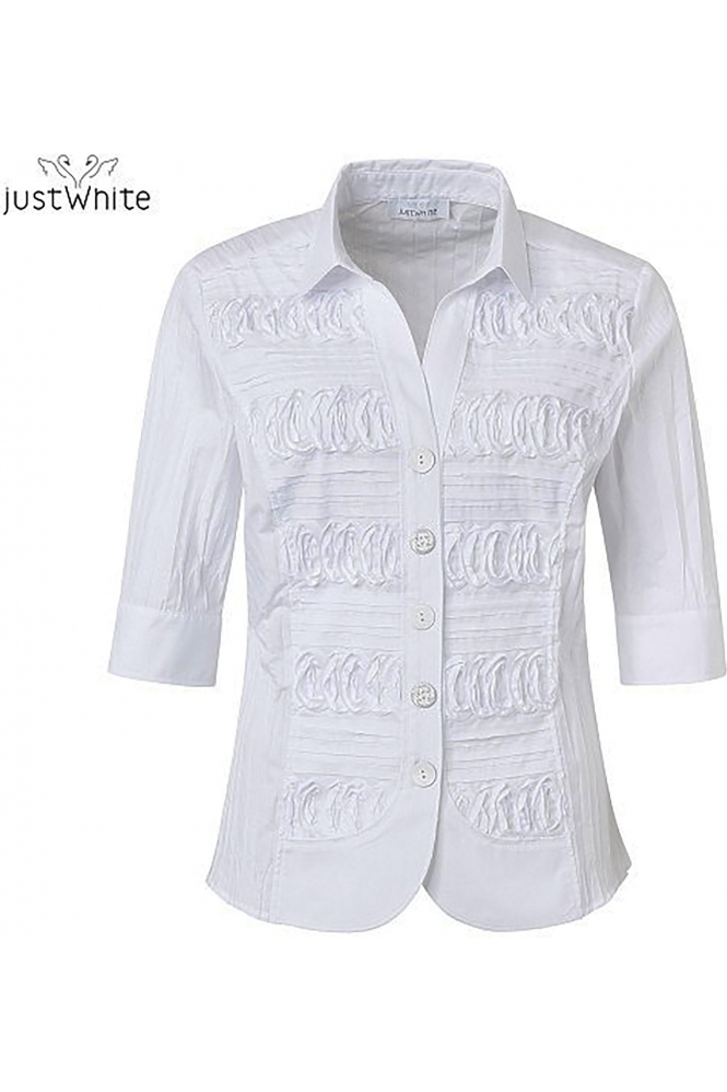 Just White 3/4 Sleeve 3D Tailored Shirt - White - 43841-010