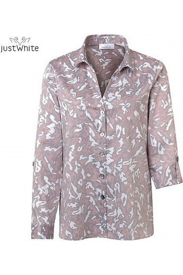 3/4 Sleeve Abstract Print Blouse - Rose - 43753-315