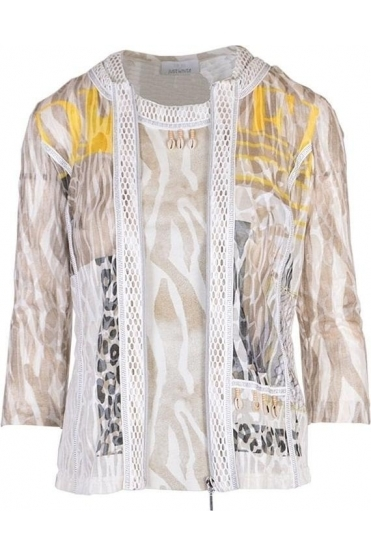 Abstract Print Two-Piece Set - Beige/Yellow - 42503/42502