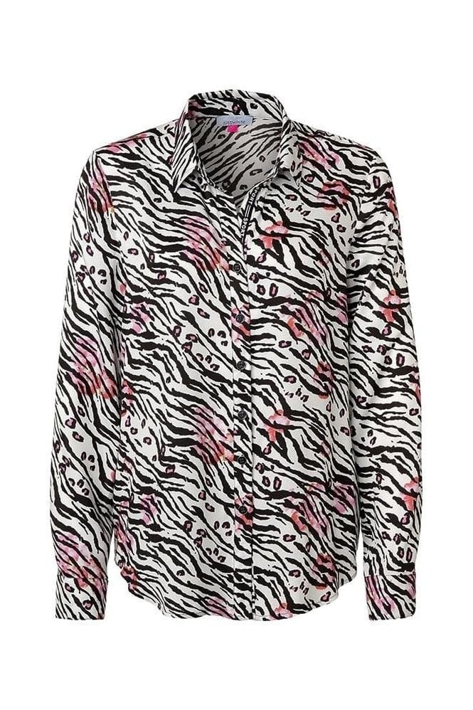 Just White Animal Print Soft Touch Shirt - 41703