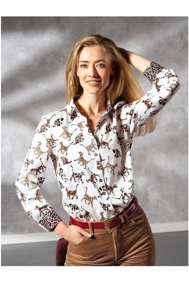 Cat Print Embellished Detail Shirt - 41773