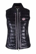 Just White Contrast Knit Panel Gilet - Black - 62979