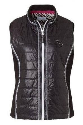 Contrast Textured Panel Gilet - Black - 41604