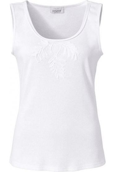 Embroidered Ribbon Detail Sleeveless Top - White - 42326