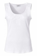Just White Embroidered Ribbon Detail Sleeveless Top - White - 42326