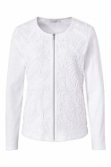 Just White Embroidered Ribbon Detail Zip Jacket  - White - 42325