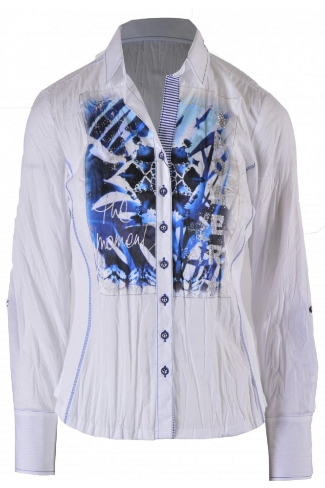 Just White Graphic Embellished Print Shirt - 42258