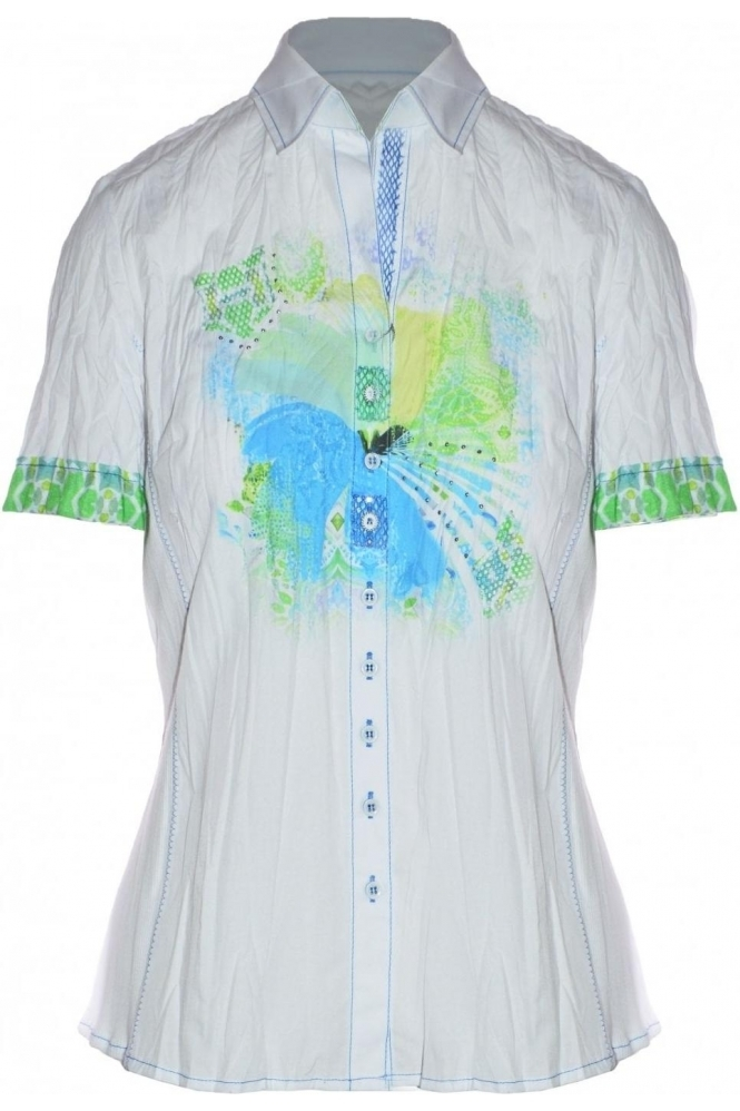 Just White Graphic Print Blouse - 41471