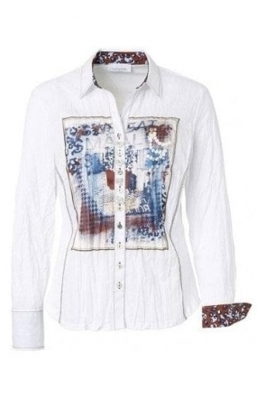 Graphic Print Crinkle Shirt - White - 43378