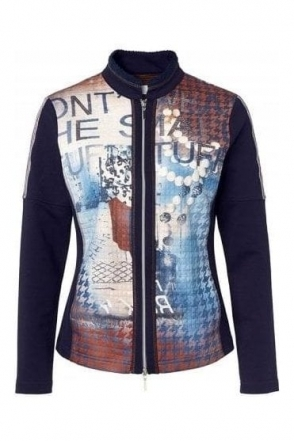 Graphic Print Embossed Jacket - Navy/Multi- 43336