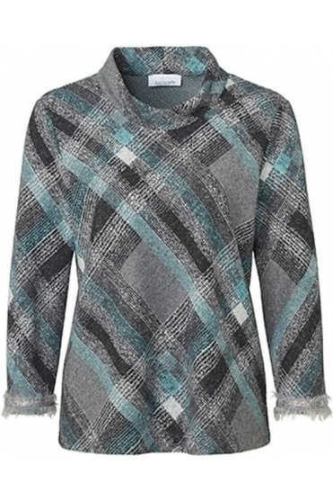 High Neck Diamond Print Jumper - Aqua/Grey - 41707