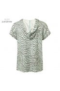 Just White Hooded Animal Print S/S Top - Khaki - 43850-685